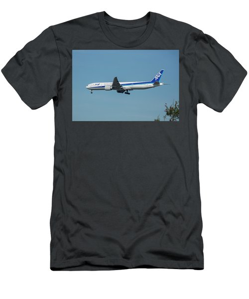 A N A Airplane J A 738 A  Boeing 777-381 Landing L A X Los Angeles International Airport Art Men's T-Shirt (Athletic Fit)