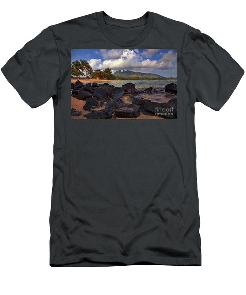 Men's T-Shirt (Athletic Fit) featuring the photograph Anahola Beach Park On The Island Of Kauai, Hawaii by Sam Antonio Photography
