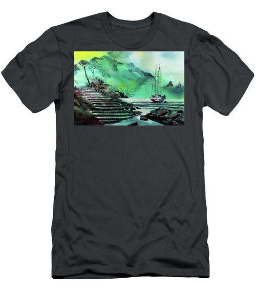 Men's T-Shirt (Slim Fit) featuring the painting Anchored by Anil Nene