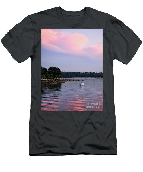 Anchored At Peaks Island, Maine  -07828 Men's T-Shirt (Slim Fit) by John Bald