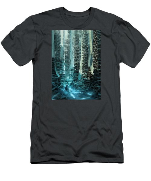 Men's T-Shirt (Slim Fit) featuring the digital art Ancient Library V1 by Te Hu