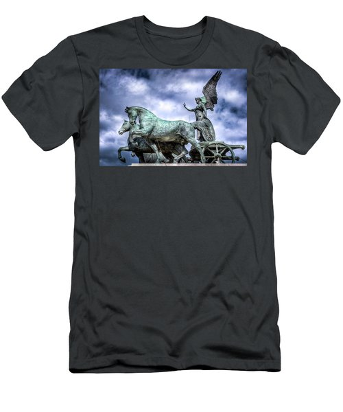 Angel And Chariot With Horses Men's T-Shirt (Slim Fit) by Sonny Marcyan