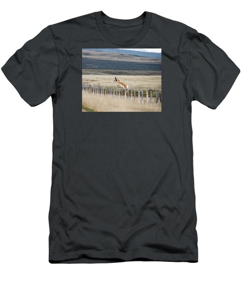 Men's T-Shirt (Slim Fit) featuring the photograph Antelope Jumping Fence 1 by Rebecca Margraf