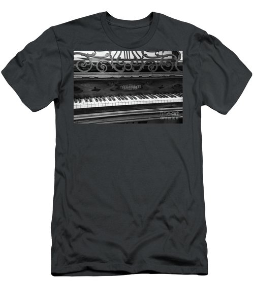 Antique Piano Black And White Men's T-Shirt (Athletic Fit)