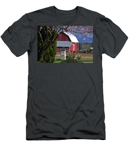 Apple Tree Pink And Barn Red Men's T-Shirt (Athletic Fit)