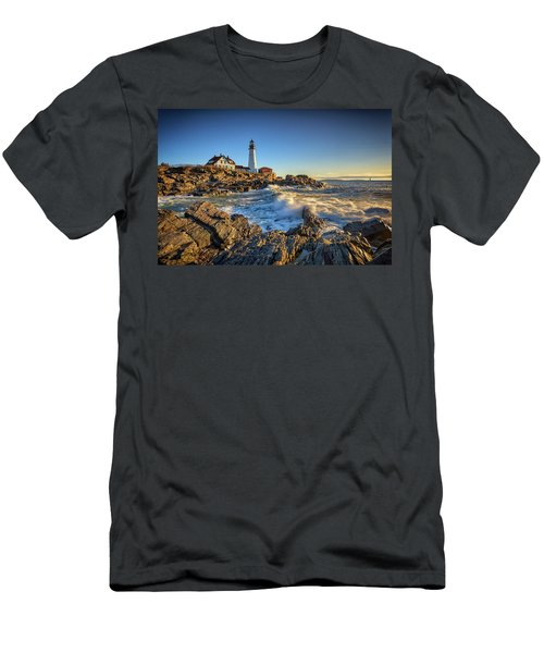 Men's T-Shirt (Slim Fit) featuring the photograph April Morning At Portland Head by Rick Berk