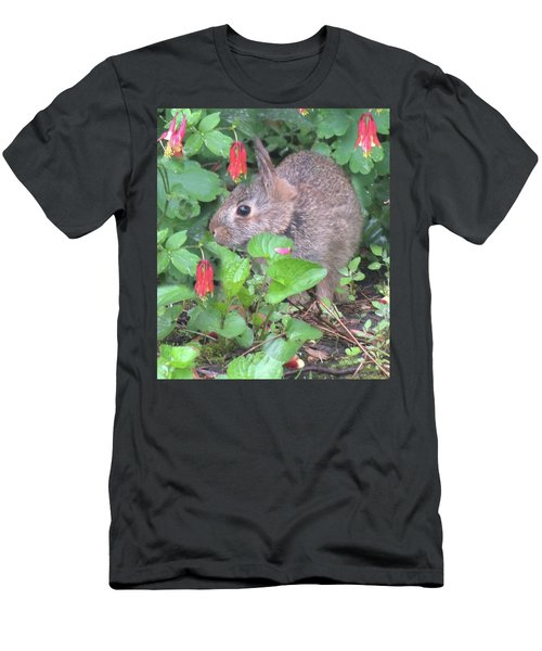Men's T-Shirt (Slim Fit) featuring the photograph April Rabbit And Columbine by Peg Toliver