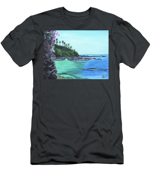 Men's T-Shirt (Slim Fit) featuring the painting Aqua Passage by Judy Via-Wolff