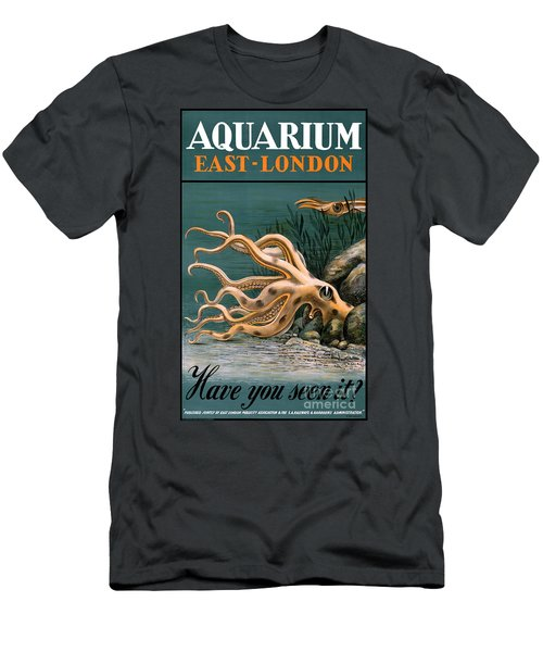 Aquarium Octopus Vintage Poster Restored Men's T-Shirt (Athletic Fit)
