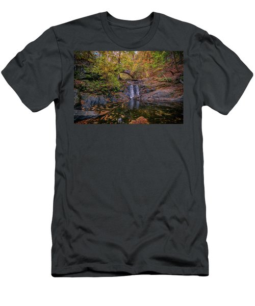 Men's T-Shirt (Athletic Fit) featuring the photograph Arch Bridge In Vaughan Woods by Rick Berk