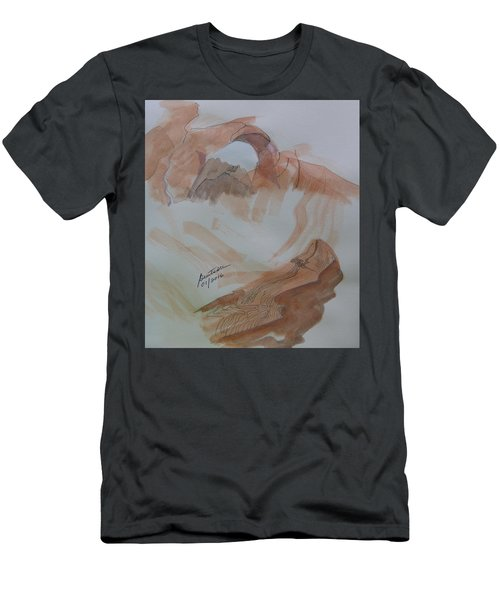 Men's T-Shirt (Slim Fit) featuring the painting Arch Rock - Sketchbook Doodle by Joel Deutsch