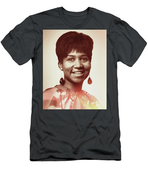 Men's T-Shirt (Athletic Fit) featuring the digital art Aretha Franklin I Say A Little Prayer by Anthony Murphy