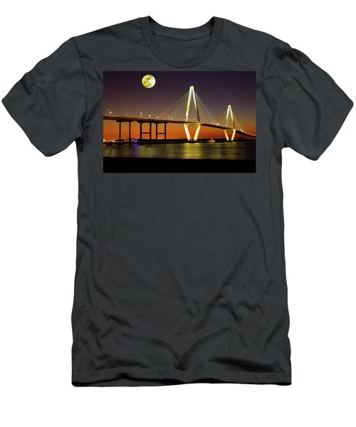 Arthur Ravenel Bridge At Night Men's T-Shirt (Athletic Fit)