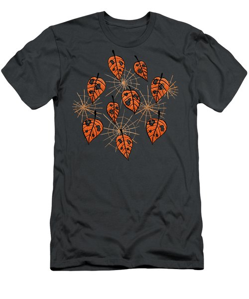 Orange Leaves With Holes And Spiderwebs Men's T-Shirt (Athletic Fit)