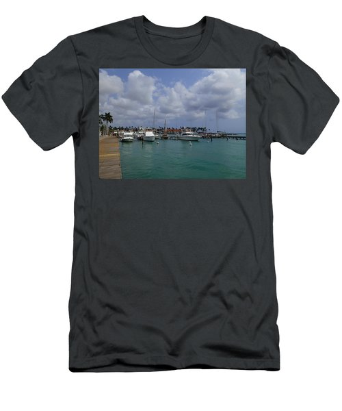 Men's T-Shirt (Slim Fit) featuring the photograph Aruba Marina by Lois Lepisto