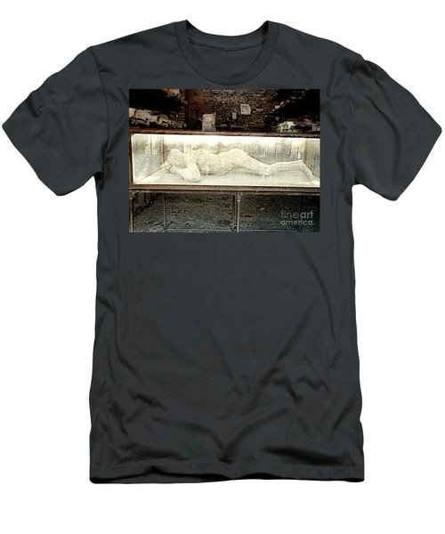 Men's T-Shirt (Athletic Fit) featuring the photograph Ash Encrusted Person From Volcano Eruption At Pompei, Italy by Merton Allen