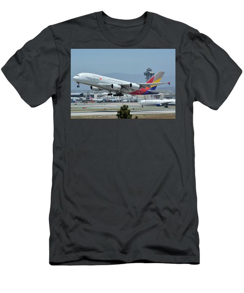 Men's T-Shirt (Slim Fit) featuring the photograph Asiana Airbus A380-800 Hl7626 Los Angeles International Airport May 3 2016 by Brian Lockett