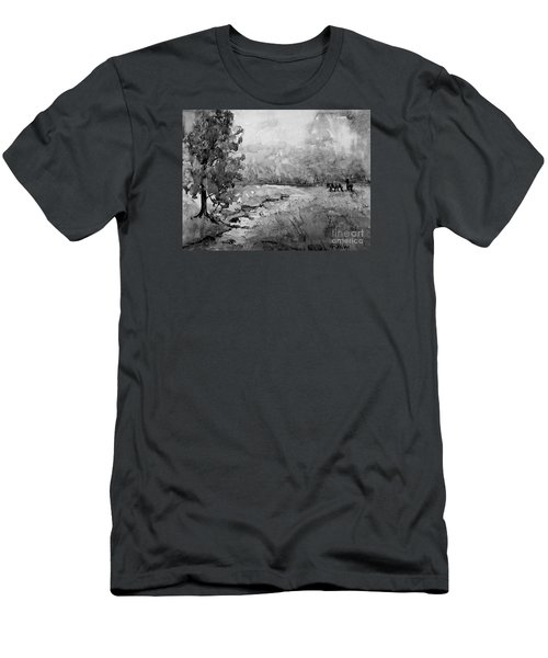 Men's T-Shirt (Slim Fit) featuring the painting Aska Farm Horses In Bw by Gretchen Allen