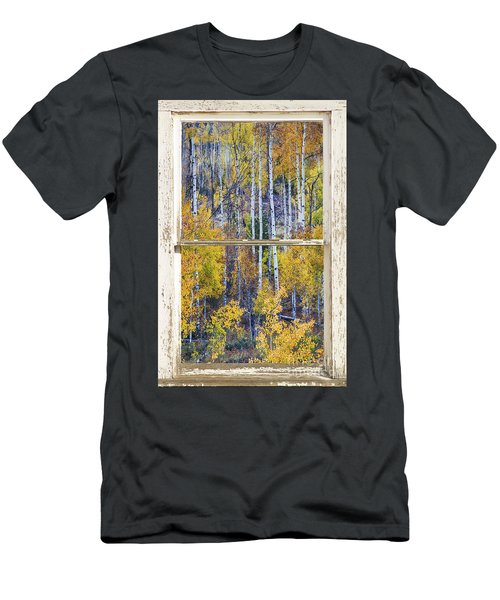 Aspen Tree Magic Cottonwood Pass White Farm House Window Art Men's T-Shirt (Athletic Fit)
