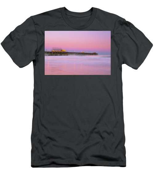 Men's T-Shirt (Athletic Fit) featuring the photograph Atlantic Ocean And The Apache Pier At Sunset In South Carolina by Ranjay Mitra