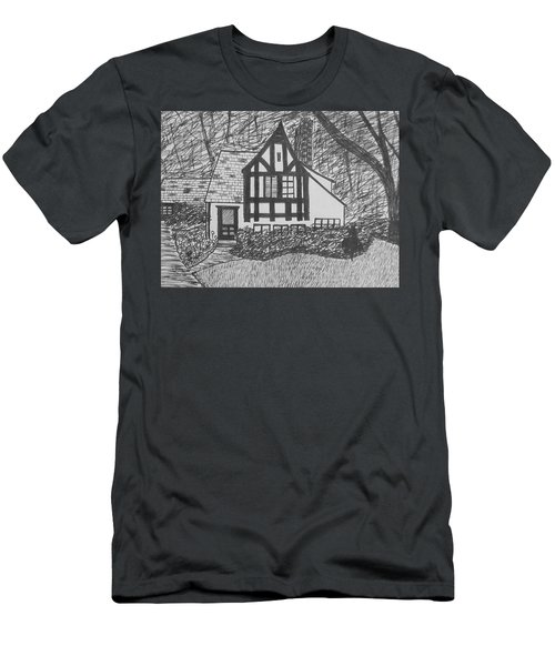 Men's T-Shirt (Slim Fit) featuring the drawing Aunt Vizy's House by Lenore Senior