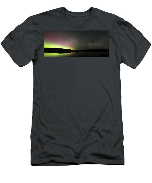 Aurora Borealis And Milky Way Over Yellowstone River Men's T-Shirt (Athletic Fit)