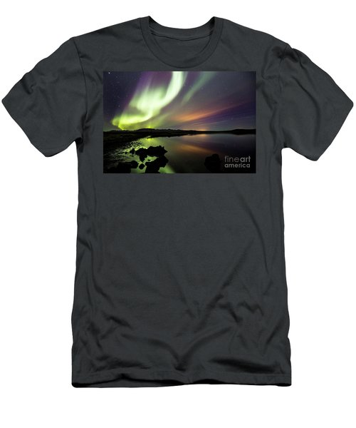 Aurora Borealis Over Thinvellir Men's T-Shirt (Slim Fit) by Gunnar Orn Arnason