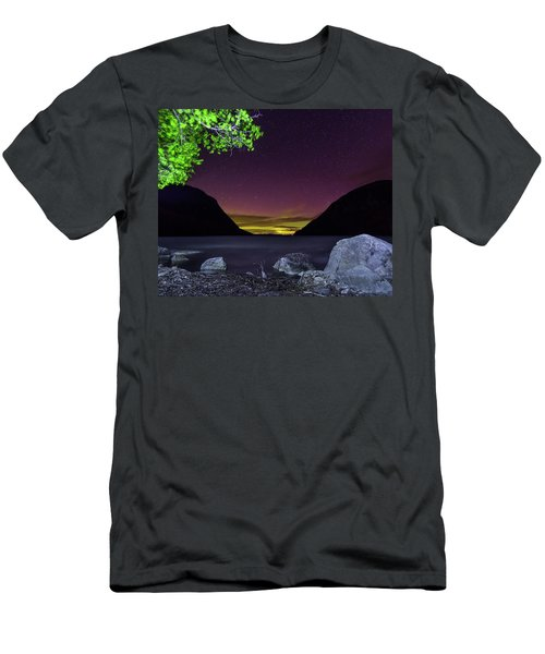 Aurora Over Lake Willoughby Men's T-Shirt (Slim Fit) by Tim Kirchoff