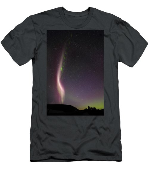 Auroral Phenomonen Known As Steve With A Large Meteor Men's T-Shirt (Athletic Fit)