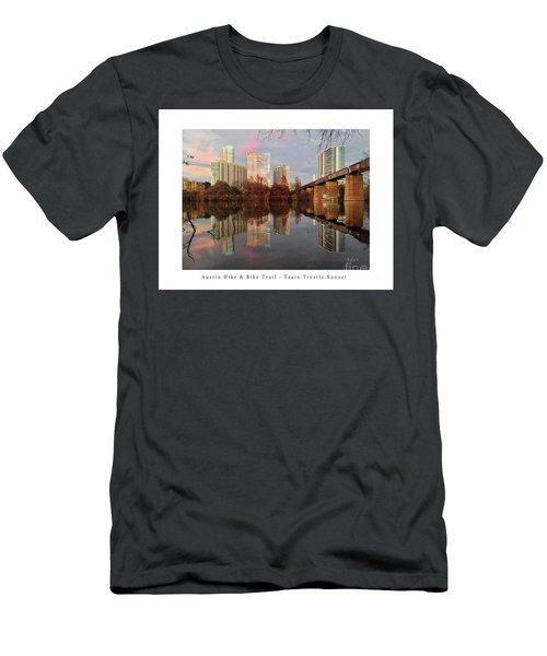 Austin Hike And Bike Trail - Train Trestle 1 Sunset Left Greeting Card Poster - Over Lady Bird Lake Men's T-Shirt (Slim Fit) by Felipe Adan Lerma