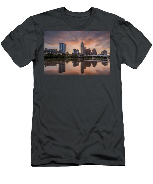 Austin Skyline Sunrise Reflection Men's T-Shirt (Slim Fit) by Todd Aaron