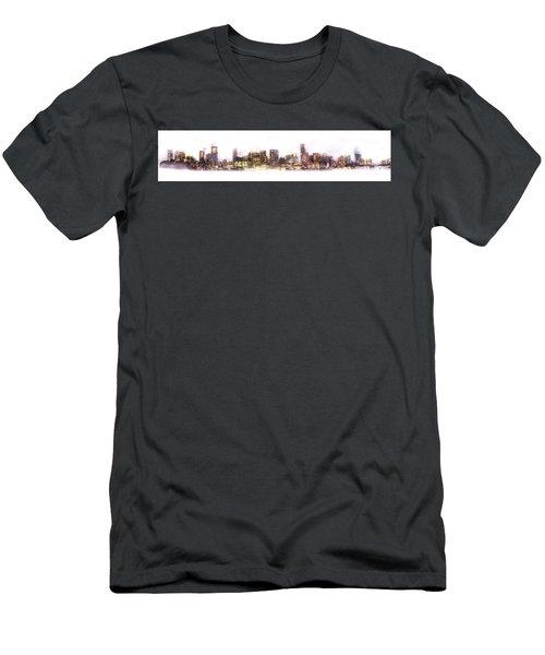 Austin Texas Skyline With White Blackground  Men's T-Shirt (Athletic Fit)