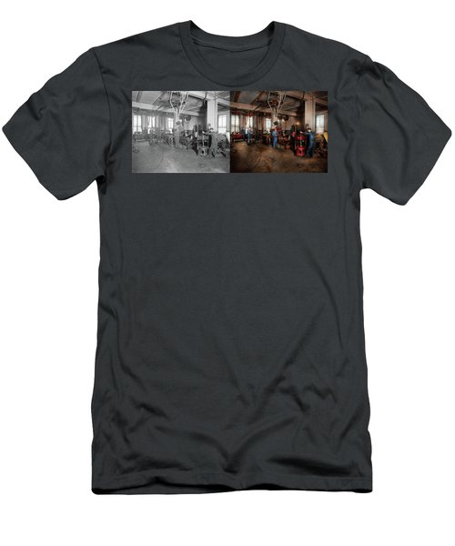 Men's T-Shirt (Athletic Fit) featuring the photograph Autobody - The Bodyshop 1916 - Side By Side by Mike Savad