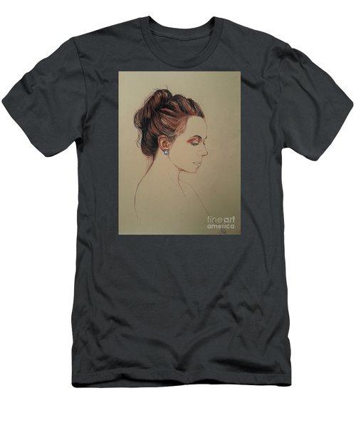 Men's T-Shirt (Slim Fit) featuring the drawing Autoportrait Maja Sokolowska by Maja Sokolowska