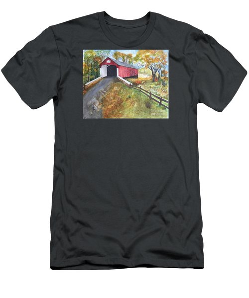 Autumn Afternoon At Knechts Covered Bridge Men's T-Shirt (Slim Fit) by Lucia Grilletto