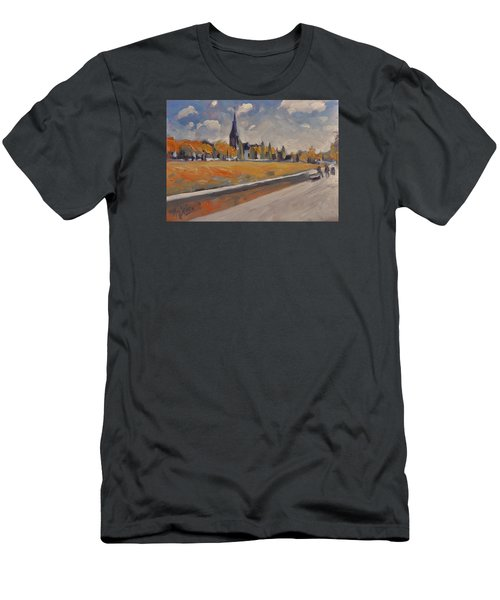 Men's T-Shirt (Slim Fit) featuring the painting Autumn Along The Griend by Nop Briex