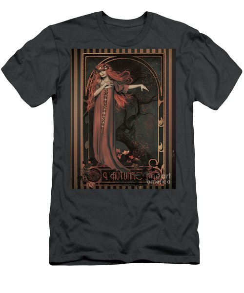 Men's T-Shirt (Slim Fit) featuring the digital art Autumn Art Nouveau  by Shanina Conway