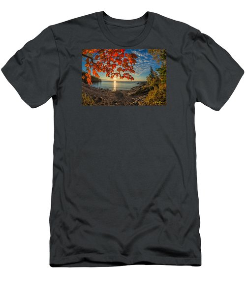 Men's T-Shirt (Athletic Fit) featuring the photograph Autumn Bay Near Shovel Point by Rikk Flohr