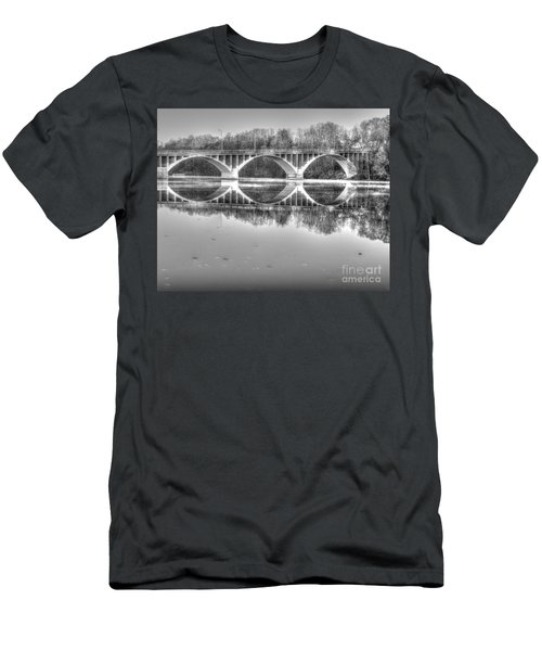 Autumn Bridge Reflections In Black And White Men's T-Shirt (Athletic Fit)