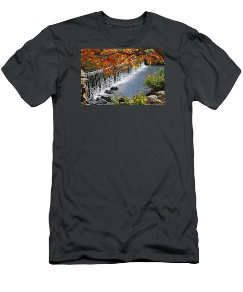 Men's T-Shirt (Slim Fit) featuring the photograph Autumn Dam by Debbie Stahre