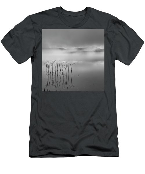 Men's T-Shirt (Slim Fit) featuring the photograph Autumn Fog Black And White Square by Bill Wakeley