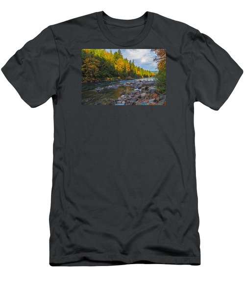 Autumn Morning Light On The Snoqualmie Men's T-Shirt (Slim Fit) by Ken Stanback