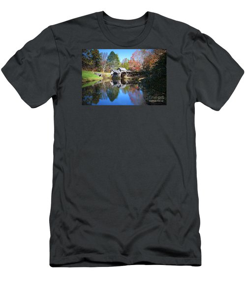 Autumn On The Blue Ridge Parkway At Mabry Mill Men's T-Shirt (Slim Fit) by Nature Scapes Fine Art