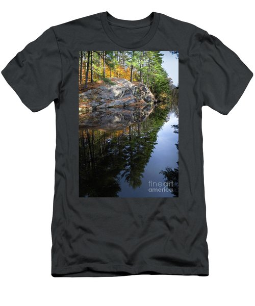 Autumn Reflections At Runaround Pond In Durham Maine  -20224 Men's T-Shirt (Athletic Fit)