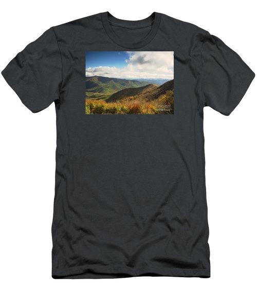 Autumn Storm Clouds Blue Ridge Parkway Men's T-Shirt (Slim Fit) by Nature Scapes Fine Art