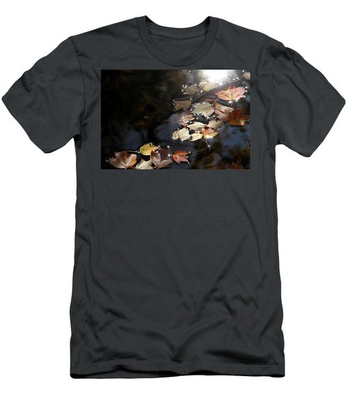 Autumn With Leaves On Water Men's T-Shirt (Slim Fit) by Emanuel Tanjala