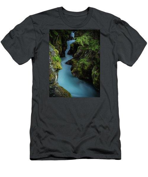Avalanche Creek- Glacier National Park Men's T-Shirt (Slim Fit) by John Vose