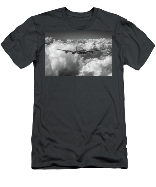 Men's T-Shirt (Slim Fit) featuring the photograph Avro Lancaster Above Clouds Bw Version by Gary Eason