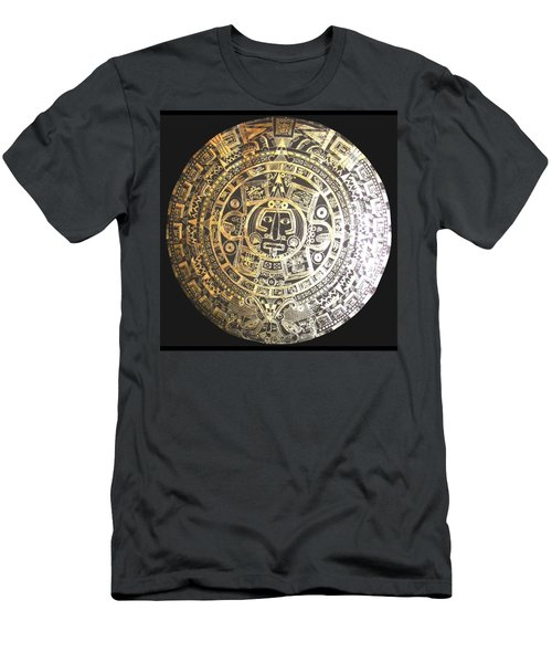 Men's T-Shirt (Athletic Fit) featuring the drawing Aztec Calendar by Michelle Dallocchio