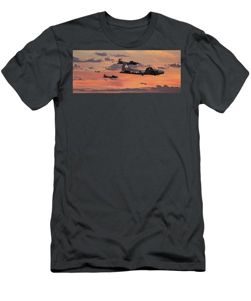 Men's T-Shirt (Slim Fit) featuring the digital art B17 - Sunset Home by Pat Speirs